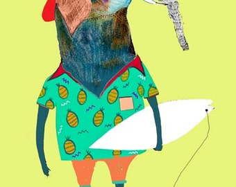Elephant Surfer. limited edition owl art print by Ashley Percival. Poster, Print.
