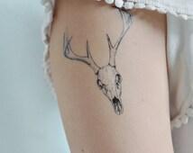Skull Temporary Tattoo, Deer Head Temporary Tattoo, Deer Skull, Tattoo Temporary, Fine Art Tattoo, Skull Drawing Deer Skull Temporary Tattoo