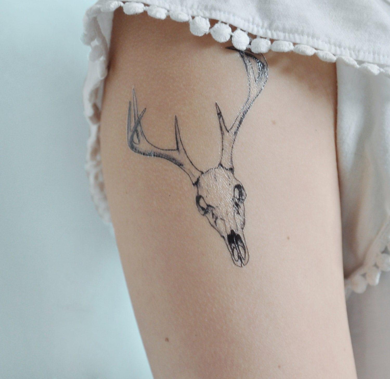Skull Temporary Tattoo Deer Head Temporary Tattoo Deer