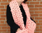 Giant Knit Giant Pockets Scarf : Super Luxurious Thick and Bulky Wool Knit Scarf - Runway Style - Street Style
