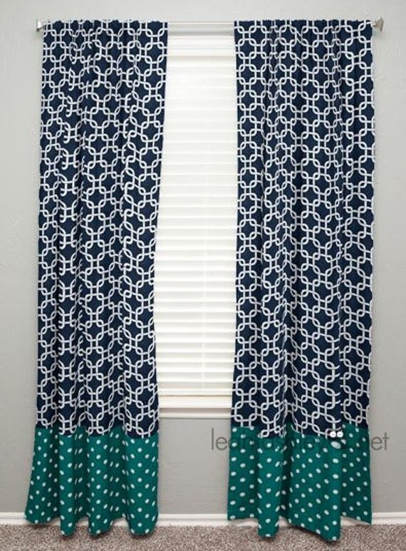 curtain panel with banding navy square teal by leahashleyokc