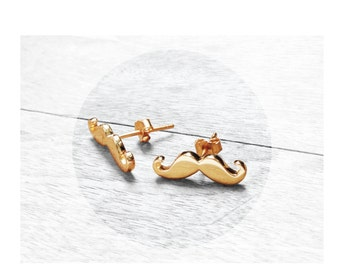 Get 15% OFF - 18K Gold Plated over Sterling Silver 925 Petite Mustache Stud Earrings - 4th of July SALE 2017