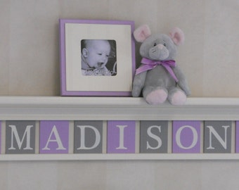 Purple Gray Baby Girl Personalized Children Butterfly Nursery Decor Linen (Off White) or White Shelf with Custom Wood Letters