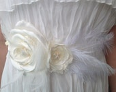 Bridal Sash with Ostrich Feathers, large Rose, flowers and pearls, Bridal accessories, satin wedding belt, delicate bridal sahs