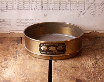 Vintage Brass U.S. Standard Sieve Screen - Industrial Decor