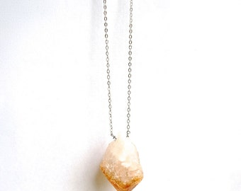 citrine raw crystal necklace