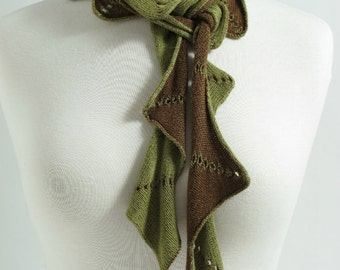Bamboo Scarf, Single Zig Zag, Brown and Green