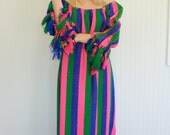 VTG 1960s Editorial Mexican Maxi Dress // Crochet Fringe Detail // OS Fits Most