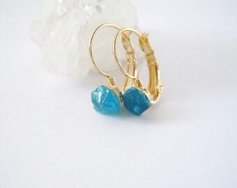 Raw Apatite Stud Earrings - Raw Stone -Natural Rough Gemstone Earrings