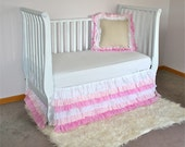 Custom Frilly Girly Ruffled Crib Skirt Nursery Bedding Shabby Chic White & Pink Ruffle 6 Tier Cotton Voile Drop Cloth Painters Cloth