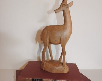 Wood Carving Gazelle  Hand Carved Wood Animal  Horned Animal