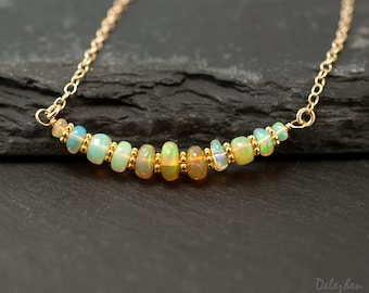 Ethiopian Opal Necklace - October Birthstone - Opal Pandent - Gold Necklace - Cabochon Stone - Gemstone Bar Necklace