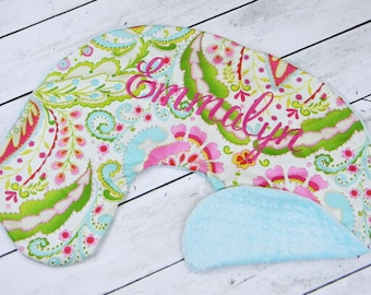 Personalized Nursing Pillow Cover-Kumari Print and Aqua Minky-