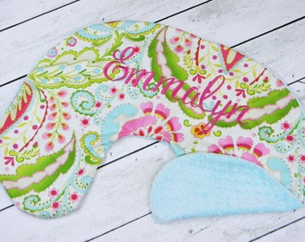 Personalized Nursing Pillow Cover- Kumari Print and Aqua Minky