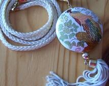 Vintage 80's Cloisonne Pendant Dragon Art with Tassel Cord Necklace