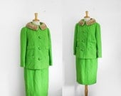 1960s lime green mink collar boucle wool 2 piece suit, size medium