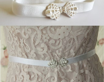 Silver Bridal Belt - Silver Wedding Belt - White Wedding Sash - Wedding Dress Belt - Wedding Gown Belt - Wedding Accessories - White Belt