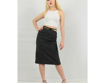 Pencil skirt / Vintage high waisted skirt / Wool skirt / Window pane / XS S