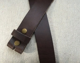 Dark Brown, Full Grain Leather Belt Strap for Buckles