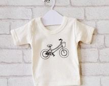 bicycle baby t-shirt : organic cotton baby gift handprinted with original bike illustration