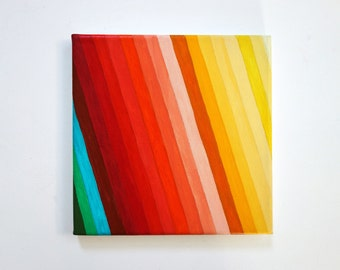 Retro Rainbow in Ombre original painting by Precious Beast