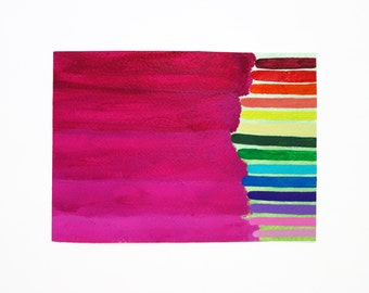 Hot Pink Rainbow 5x7 canvas paper original painting