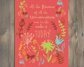 Christian Gift, Scripture art, All The Flowers, Christian art print