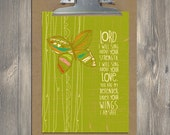 Christian Gift, Scripture art, Flying Above - Under Your Wings I Am Safe, Christian art print