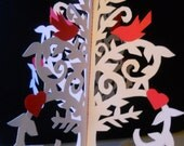 Valentine Tree Sculpture with Red Hearts and Red Birds Scherenschnitte Paper Cutting - Wonderful 3D Display or Gift for Bird Lovers