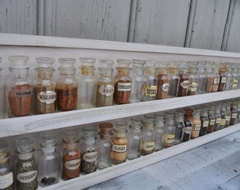 Spice Rack Kitchen Display - Extra Long Storage and Organization- Holds Over 50 Spice Jars