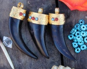 Dark and Gold : Natural Himalayan Goat Horn Tooth, Tusk, Brass Capped Pendant, Bold Wild Western, Bohemian Jewelry Making Supply, 1 piece