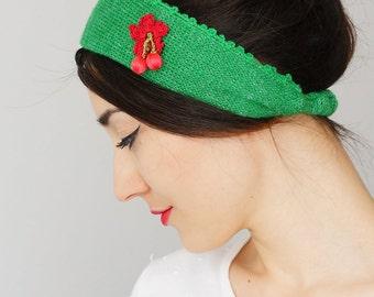 HEADBAND Green Headband Winter Headband Hair Accessories Knitted Headband Knit Headband Turban Headband Ear Warmer Green Bandanas
