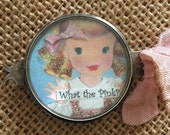 "Spring Cleaning Sale - Save 40% Vintage Handcrafted GOLDILOCKS ""What the Pink?"" Bracelet Piece"