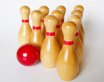 Wooden Bowling Set, Ten Pin, Bowling, Game, Waldorf Toy, Waldorf Game, games and puzzles