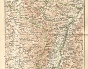 1892 Original Antique Dated Map of the Imperial Territory of Alsace-Lorraine