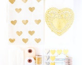 SAVE 30% - Gold Valentine Gift Packaging kit  - Ships F R E E - Heart Stickers, Glassine Bags, Twine, Makes 20 packages