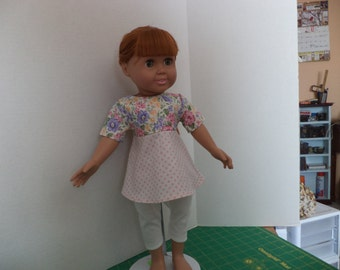 Floral & Pink Dot Top and Leggings, 18 inch dolls, Ready to Ship