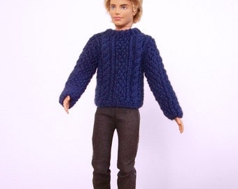 Doll Sweater, Doll Clothes, Fashion Doll Sweater, Male Fashion Doll Clothes, Knit Doll Sweater, Hand Knit Doll Clothes, Fisherman Cables