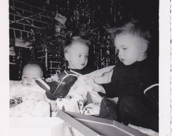 I Got A Boot, What'd You Get?- 1950s Vintage Photograph- Twin Boys- Christmas Presents Under Tree-  50s Snapshot- Paper Ephemera