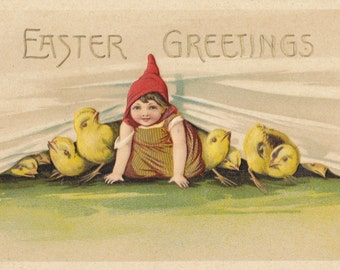 Easter Greetings- 1910s Antique Postcard- Little Girl in Red Pointy Hat- Yellow Chicks- Edwardian Easter Decor- Paper Ephemera