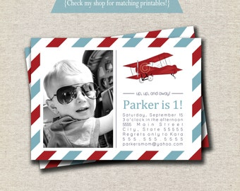 Vintage Airplane Invitation | Vintage Airplane Invite - red and blue | Aviator Invitation | Aviator Invite | Airplane Party