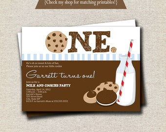 Milk and Cookies Invitation | Milk & Cookies Invite - blue and brown | digital printable