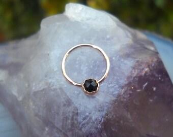 Nipple Ring Piercing - Septum Ring - Conch Piercing - 14K Rose Gold Filled Black Onyx Nipple Ring - Nipple Piercing - Nipple Jewelry
