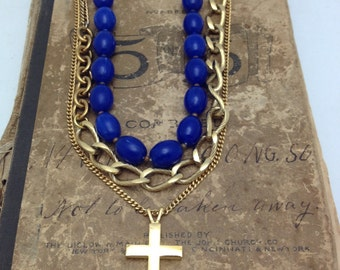 Cross Necklace Layered Necklace Vintage Assemblage Necklace Religious Necklace