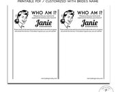 Who Am I? Bridal Shower Guessing Game, Funny Shower Game, How do you know the bride, Personalized Shower Game, Black and White