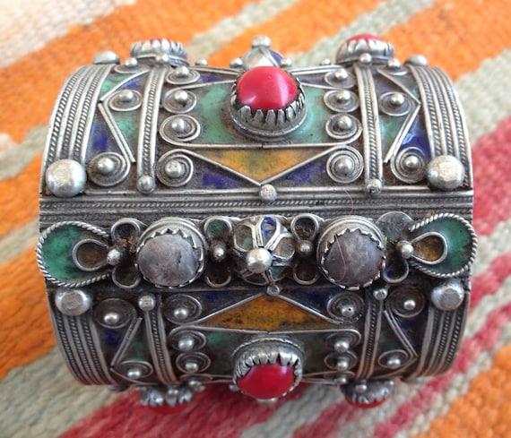 Vintage Berber Hinged Enamel Bracelet with Silver Filigrein,  S Morocco