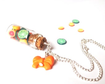 Cute Bottle Necklace ( citrus bottle lime necklace food necklace polymer clay jewelry orange necklace mini food jewelry green necklace )