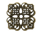 Filigree : 10 Antique Bronze Filigree Wraps Connectors | Brass Square Flower Filigree Metal Stampings -- Lead, Nickel & Cadmium free 45730.U