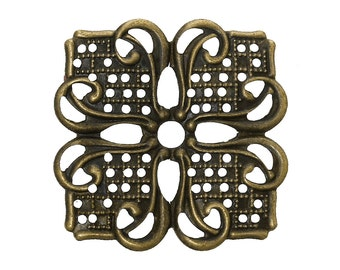 Filigree : 10 Antique Bronze Filigree Wraps Connectors | Brass Square Flower Filigree Metal Stampings -- Lead, Nickel & Cadmium free 45730.L