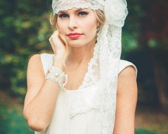 Off White Boho Bridal Lace Headwrap or Headband with Silk Flower Accessory - Wedding Veil - Berne